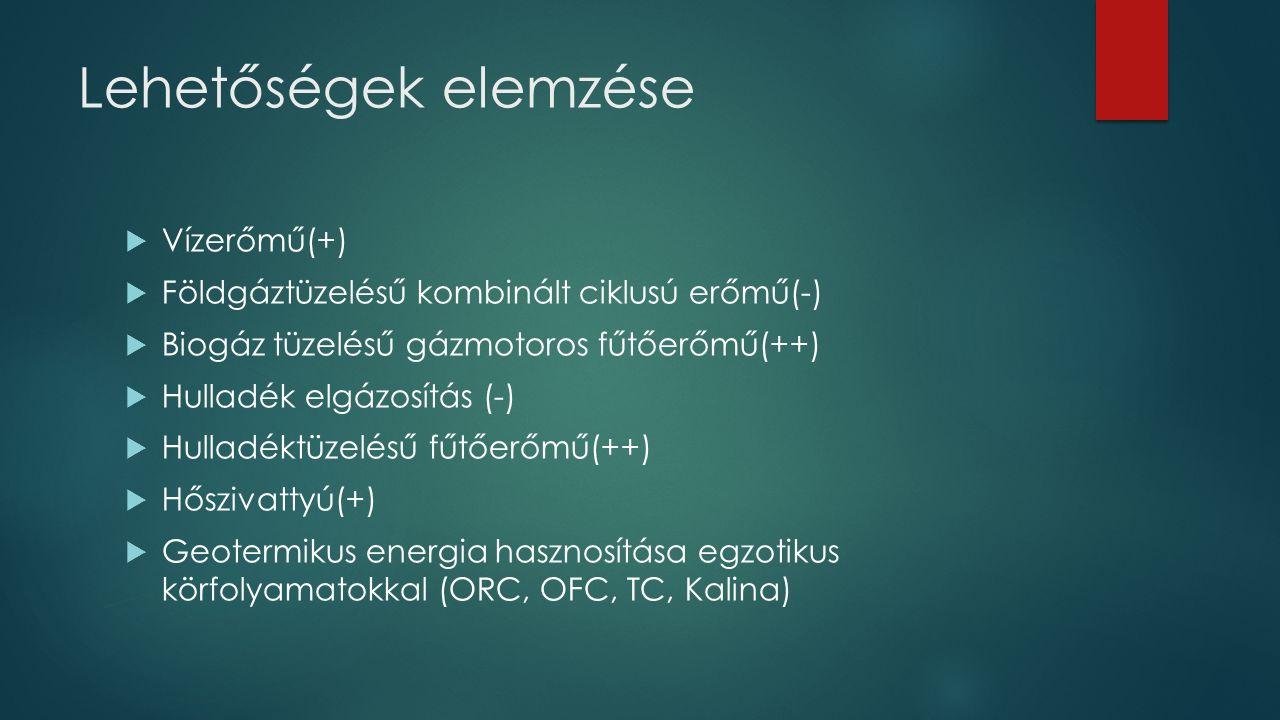 Lehetőségek elemzése  Vízerőmű(+)  Földgáztüzelésű kombinált ciklusú erőmű(-)  Biogáz tüzelésű gázmotoros fűtőerőmű(++)  Hulladék elgázosítás (-)