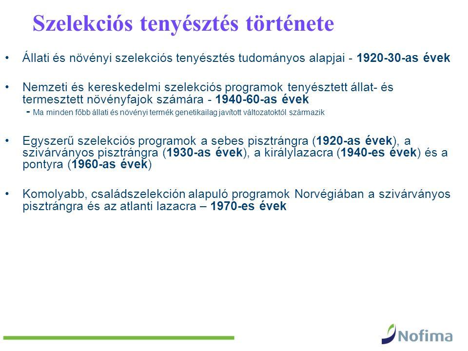 Szelekciós tenyésztés története Állati és növényi szelekciós tenyésztés tudományos alapjai - 1920-30-as évek Nemzeti és kereskedelmi szelekciós programok tenyésztett állat- és termesztett növényfajok számára - 1940-60-as évek - Ma minden főbb állati és növényi termék genetikailag javított változatoktól származik Egyszerű szelekciós programok a sebes pisztrángra (1920-as évek), a szivárványos pisztrángra (1930-as évek), a királylazacra (1940-es évek) és a pontyra (1960-as évek) Komolyabb, családszelekción alapuló programok Norvégiában a szivárványos pisztrángra és az atlanti lazacra – 1970-es évek