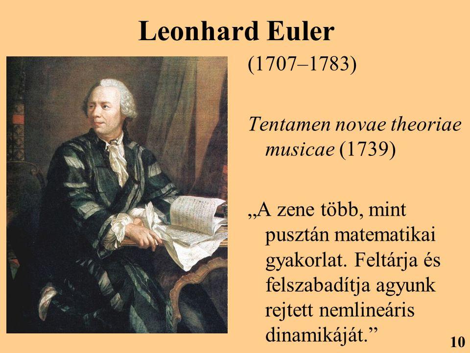 """Leonhard Euler (1707–1783) Tentamen novae theoriae musicae (1739) """"A zene több, mint pusztán matematikai gyakorlat. Feltárja és felszabadítja agyunk r"""