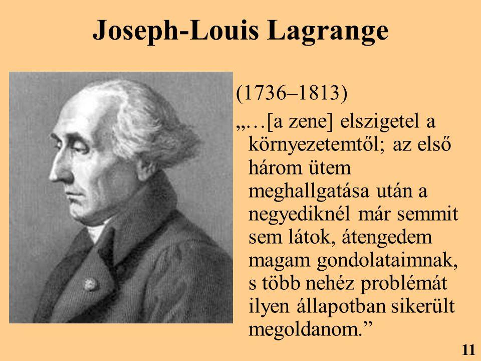 """Joseph-Louis Lagrange (1736–1813) """"…[a zene] elszigetel a környezetemtől; az első három ütem meghallgatása után a negyediknél már semmit sem látok, átengedem magam gondolataimnak, s több nehéz problémát ilyen állapotban sikerült megoldanom. 11"""