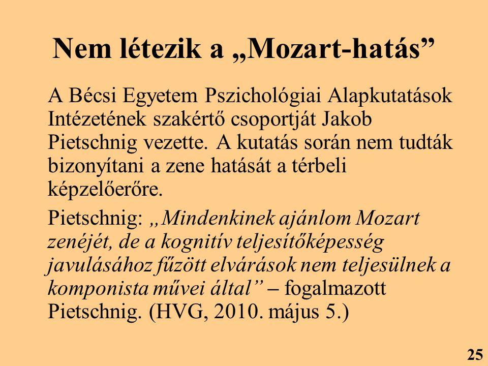 """Nem létezik a """"Mozart-hatás A Bécsi Egyetem Pszichológiai Alapkutatások Intézetének szakértő csoportját Jakob Pietschnig vezette."""