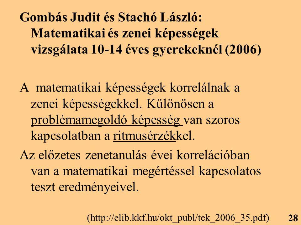 Gombás Judit és Stachó László: Matematikai és zenei képességek vizsgálata 10-14 éves gyerekeknél (2006) A matematikai képességek korrelálnak a zenei képességekkel.