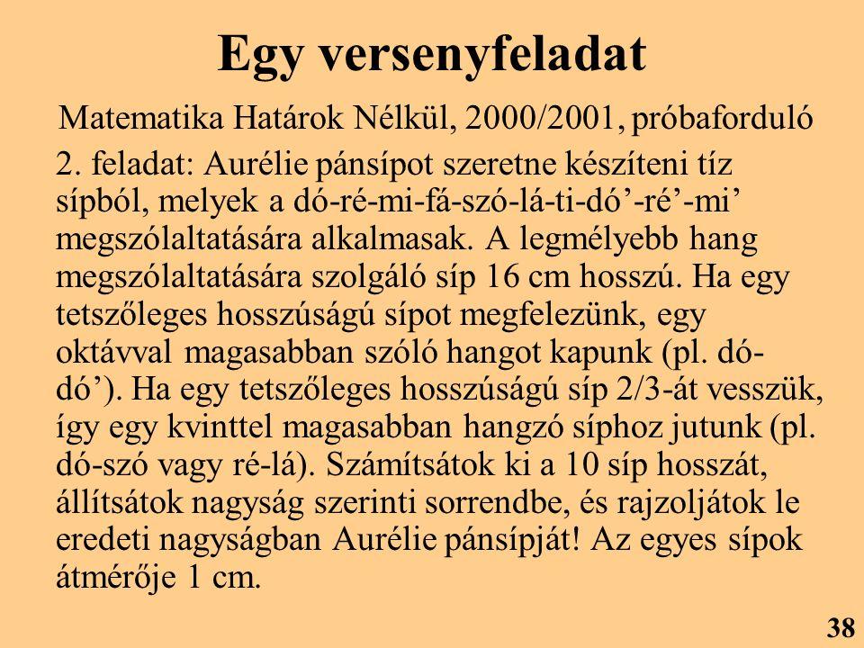 Egy versenyfeladat Matematika Határok Nélkül, 2000/2001, próbaforduló 2.