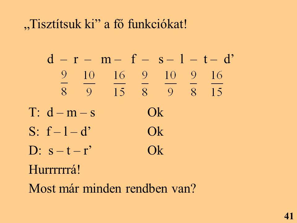 """T: d – m – s Ok S: f – l – d' Ok D: s – t – r'Ok Hurrrrrrá! Most már minden rendben van? 41 d – r – m – f – s – l – t – d' """"Tisztítsuk ki"""" a fő funkci"""