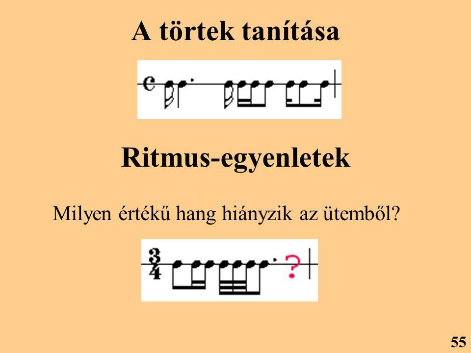 A törtek tanítása Ritmus-egyenletek Milyen értékű hang hiányzik az ütemből? 55