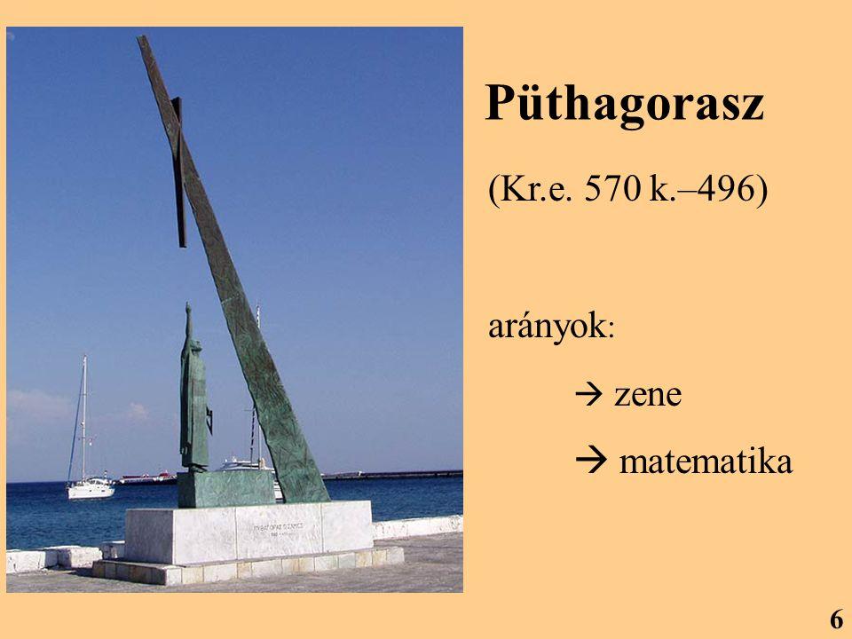 Püthagorasz (Kr.e. 570 k.–496) arányok :  zene  matematika 6