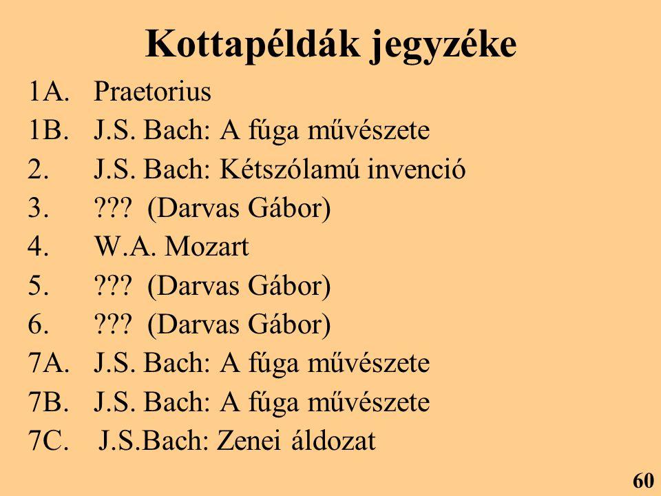 Kottapéldák jegyzéke 1A.Praetorius 1B. J.S. Bach: A fúga művészete 2.J.S. Bach: Kétszólamú invenció 3.??? (Darvas Gábor) 4.W.A. Mozart 5.??? (Darvas G