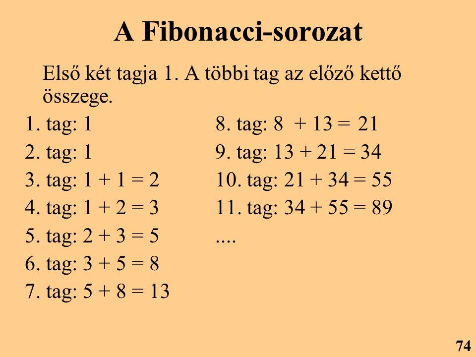 A Fibonacci-sorozat Első két tagja 1. A többi tag az előző kettő összege. 1. tag: 18. tag: 8 + 13 = 21 2. tag: 19. tag: 13 + 21 = 34 3. tag: 1 + 1 = 2
