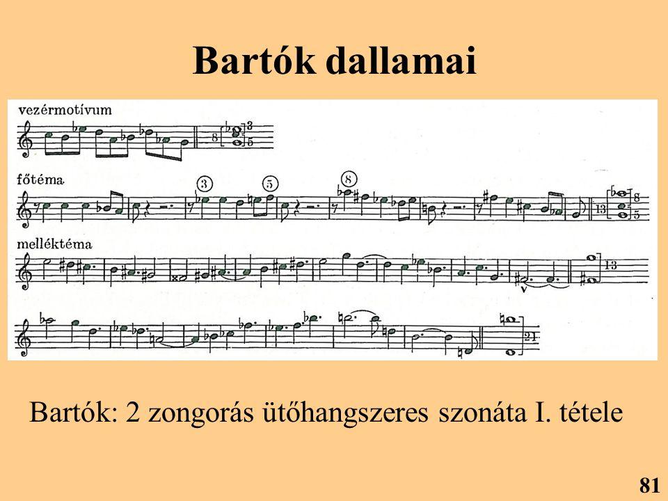 Bartók dallamai Bartók: 2 zongorás ütőhangszeres szonáta I. tétele 81