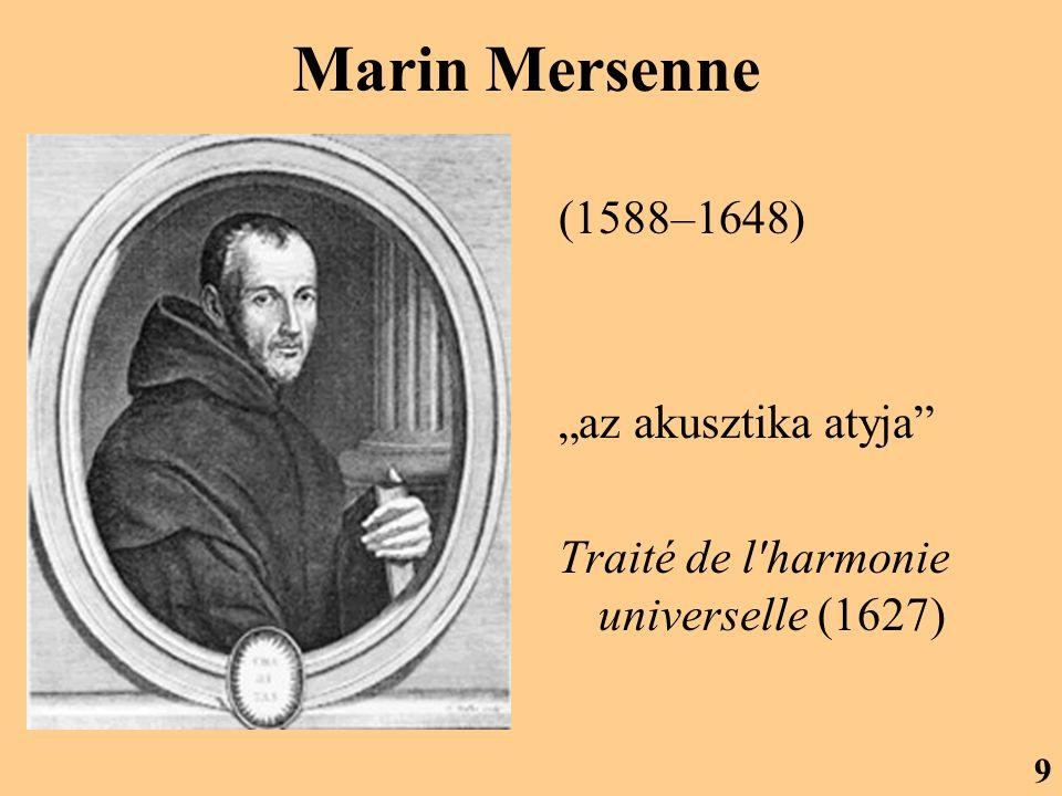 """Marin Mersenne (1588–1648) """"az akusztika atyja"""" Traité de l'harmonie universelle (1627) 9"""