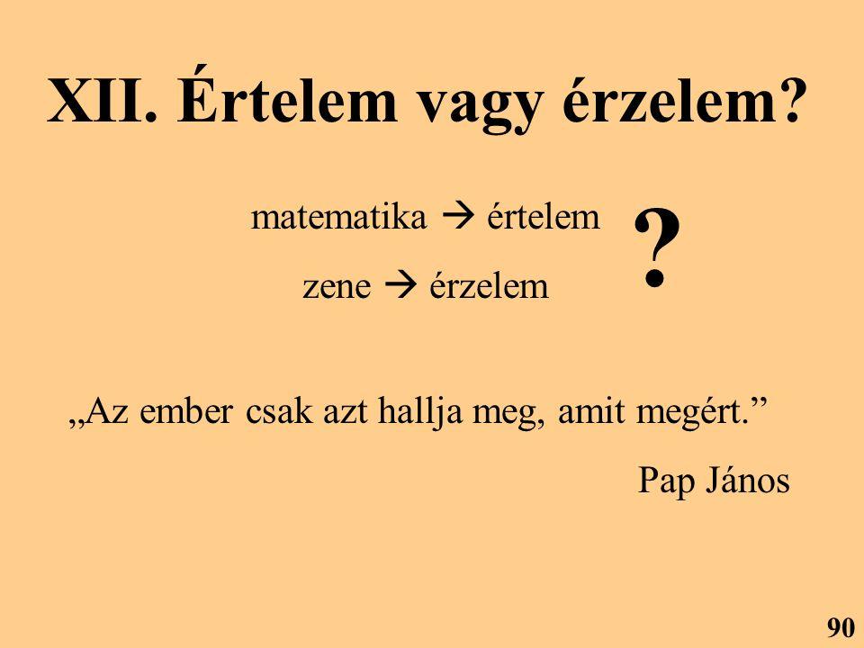 """XII. Értelem vagy érzelem? matematika  értelem zene  érzelem ? """"Az ember csak azt hallja meg, amit megért."""" Pap János 90"""