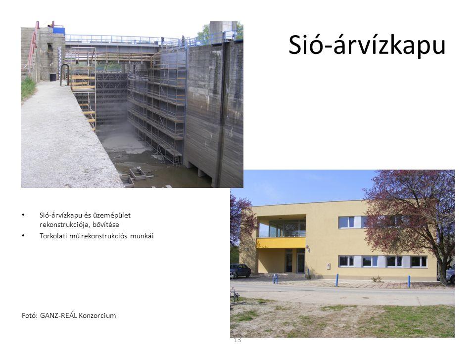 Sió-árvízkapu és üzemépület rekonstrukciója, bővítése Torkolati mű rekonstrukciós munkái Fotó: GANZ-REÁL Konzorcium Sió-árvízkapu 13