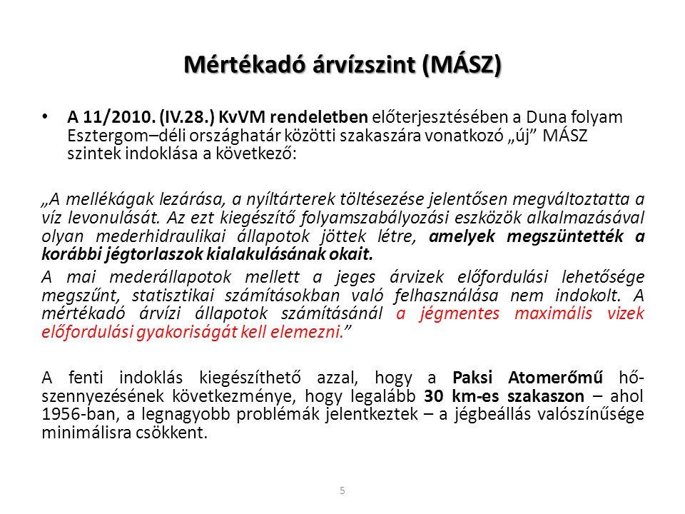 Mértékadó árvízszint (MÁSZ) A 11/2010. (IV.28.) KvVM rendeletben előterjesztésében a Duna folyam Esztergom–déli országhatár közötti szakaszára vonatko