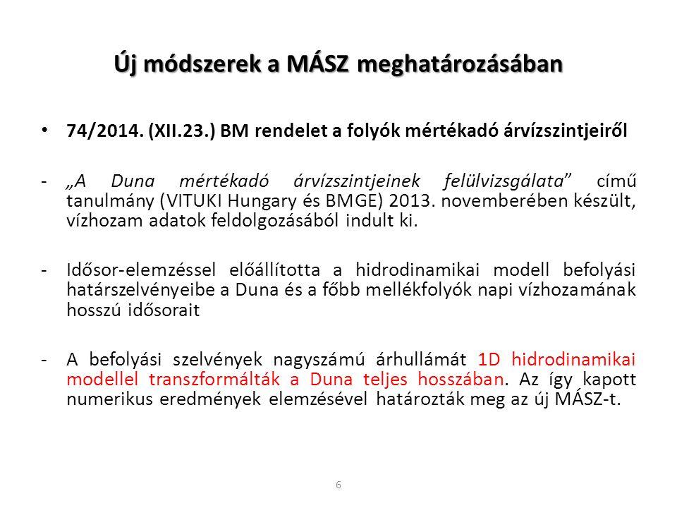 """Új módszerek a MÁSZ meghatározásában 74/2014. (XII.23.) BM rendelet a folyók mértékadó árvízszintjeiről -""""A Duna mértékadó árvízszintjeinek felülvizsg"""