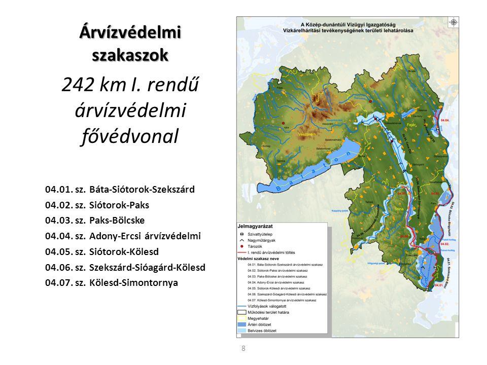 Árvízvédelmi szakaszok 242 km I. rendű árvízvédelmi fővédvonal 04.01. sz. Báta-Siótorok-Szekszárd 04.02. sz. Siótorok-Paks 04.03. sz. Paks-Bölcske 04.