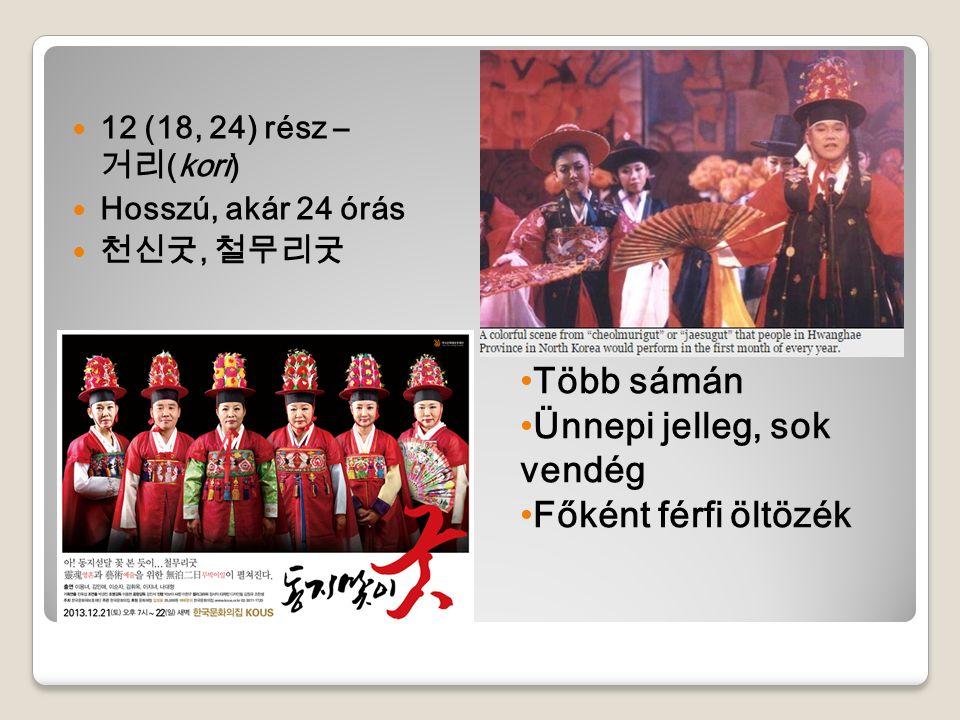 12 (18, 24) rész – 거리 (kori) Hosszú, akár 24 órás 천신굿, 철무리굿 Több sámán Ünnepi jelleg, sok vendég Főként férfi öltözék