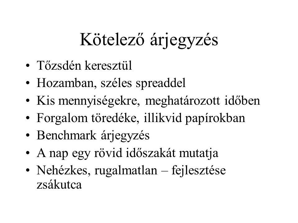 Az árjegyzés rendszere Magyarországon Cselényi György 2003. július 2.