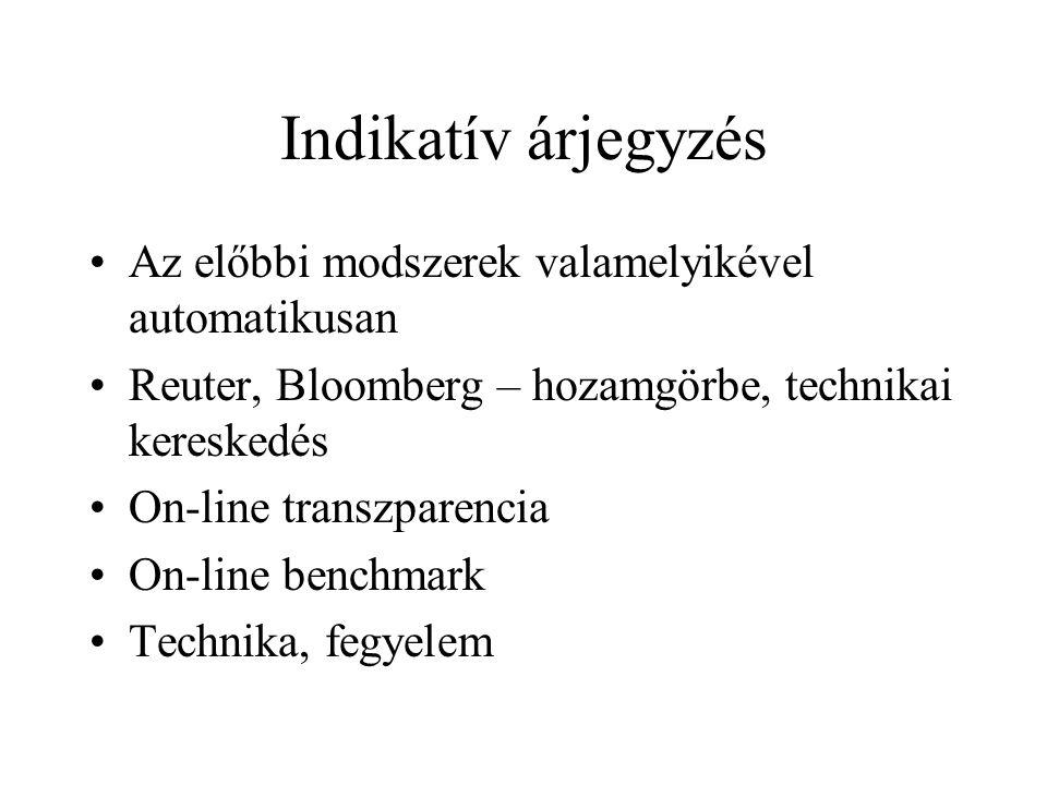 Indikatív árjegyzés Az előbbi modszerek valamelyikével automatikusan Reuter, Bloomberg – hozamgörbe, technikai kereskedés On-line transzparencia On-line benchmark Technika, fegyelem