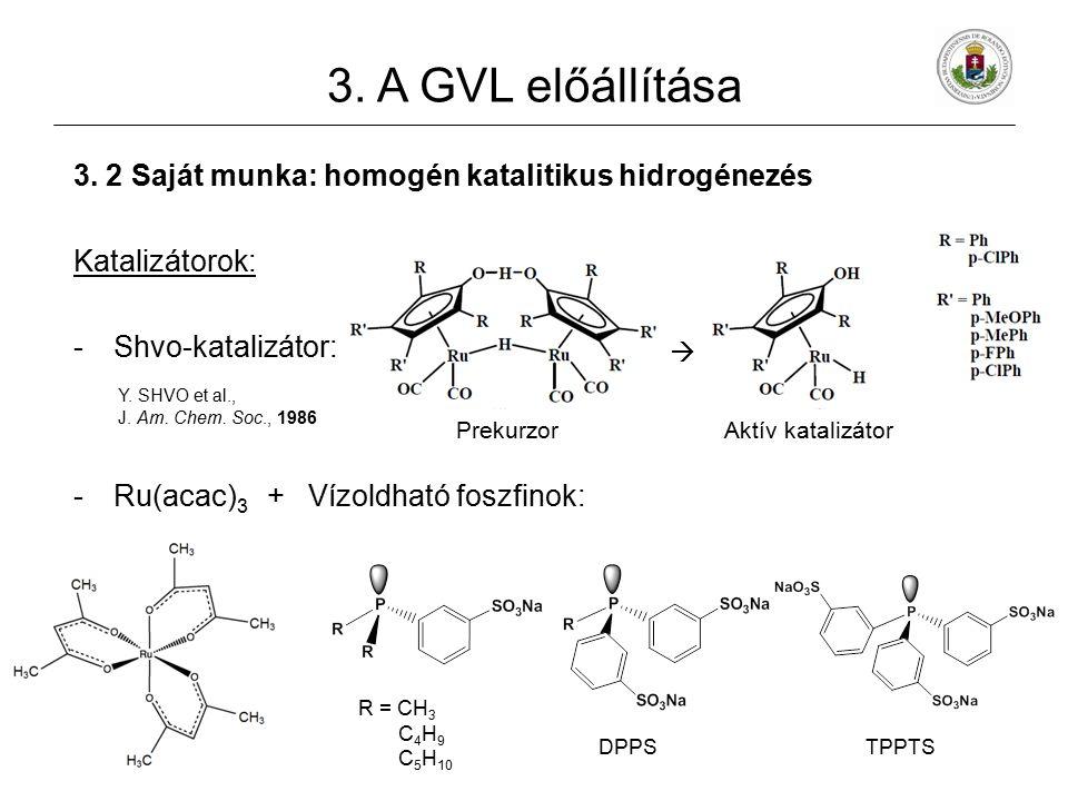 3. 2 Saját munka: homogén katalitikus hidrogénezés Katalizátorok: -Shvo-katalizátor: Y. SHVO et al., J. Am. Chem. Soc., 1986 -Ru(acac) 3 + Vízoldható