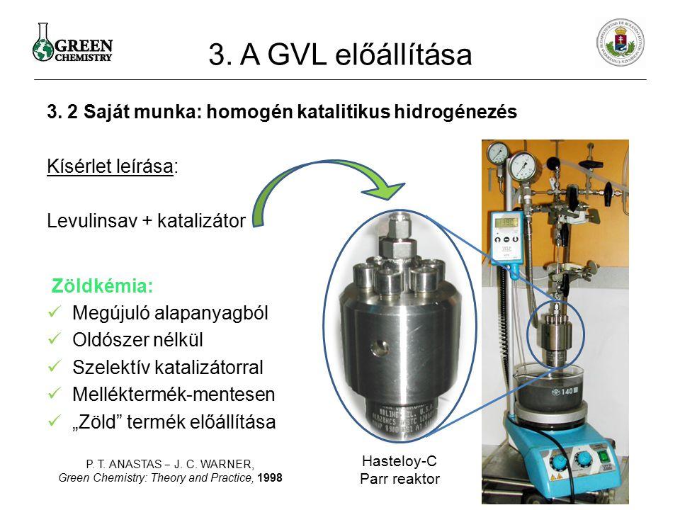 3. 2 Saját munka: homogén katalitikus hidrogénezés Kísérlet leírása: Levulinsav + katalizátor Zöldkémia: Megújuló alapanyagból Oldószer nélkül Szelekt