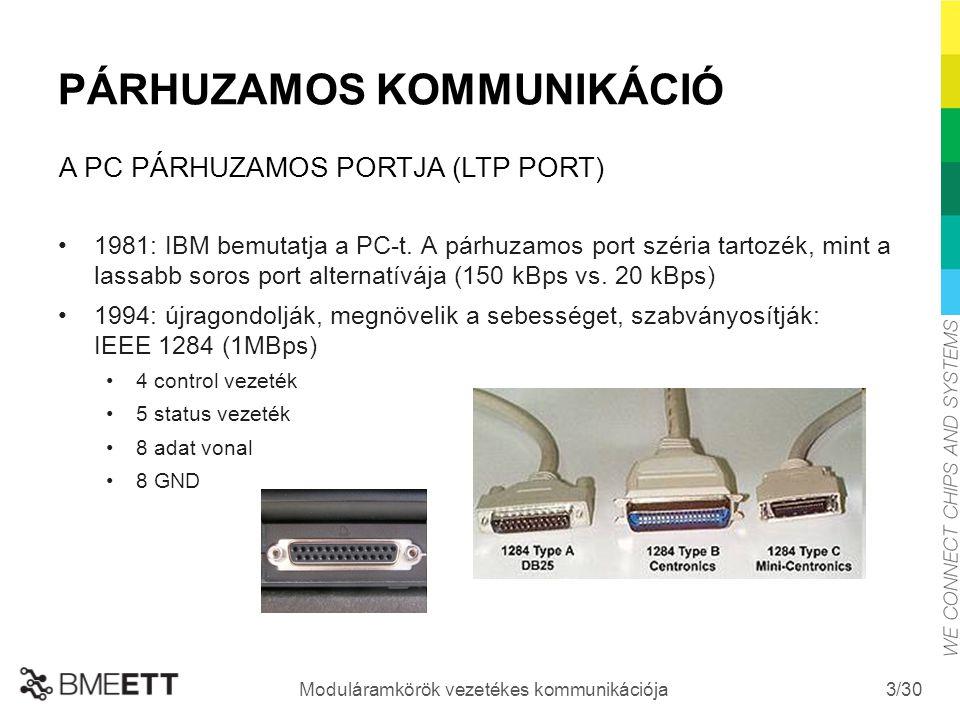 /30 Moduláramkörök vezetékes kommunikációja 3 PÁRHUZAMOS KOMMUNIKÁCIÓ 1981: IBM bemutatja a PC-t. A párhuzamos port széria tartozék, mint a lassabb so