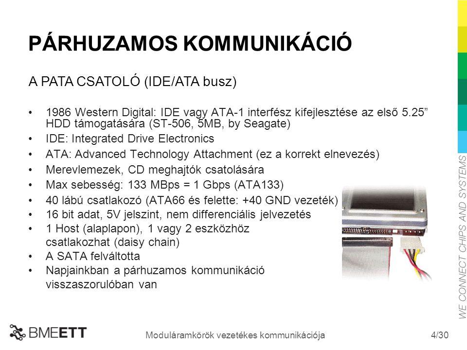 """/30 Moduláramkörök vezetékes kommunikációja 4 PÁRHUZAMOS KOMMUNIKÁCIÓ 1986 Western Digital: IDE vagy ATA-1 interfész kifejlesztése az első 5.25"""" HDD t"""