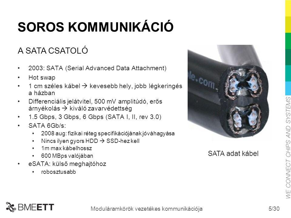 /30 Moduláramkörök vezetékes kommunikációja 5 SOROS KOMMUNIKÁCIÓ 2003: SATA (Serial Advanced Data Attachment) Hot swap 1 cm széles kábel  kevesebb he