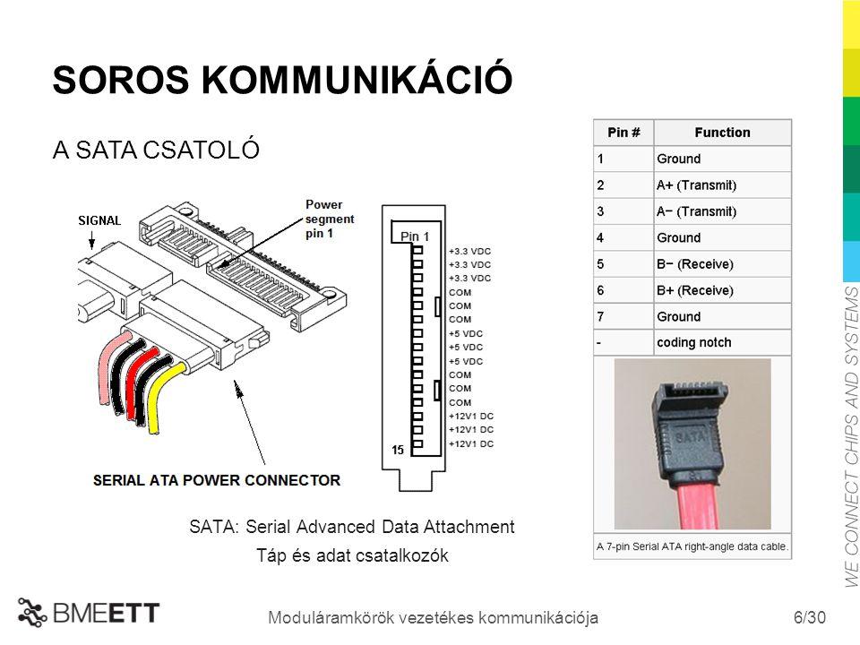 /30 Moduláramkörök vezetékes kommunikációja 6 SOROS KOMMUNIKÁCIÓ SATA: Serial Advanced Data Attachment Táp és adat csatalkozók A SATA CSATOLÓ