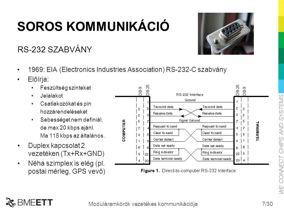 /30 Moduláramkörök vezetékes kommunikációja 7 SOROS KOMMUNIKÁCIÓ 1969: EIA (Electronics Industries Association) RS-232-C szabvány Előírja: Feszültség