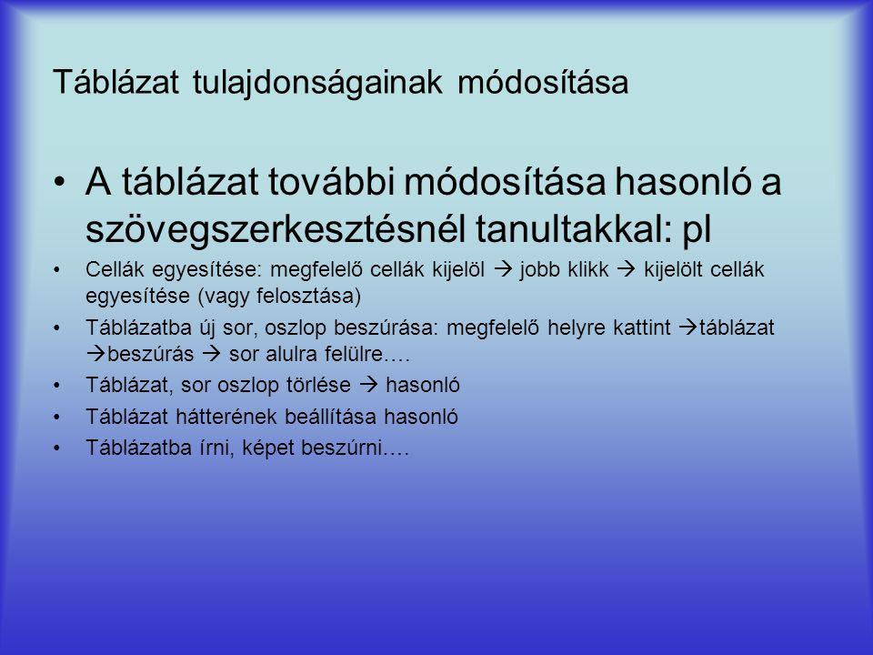 Táblázat tulajdonságainak módosítása A táblázat további módosítása hasonló a szövegszerkesztésnél tanultakkal: pl Cellák egyesítése: megfelelő cellák