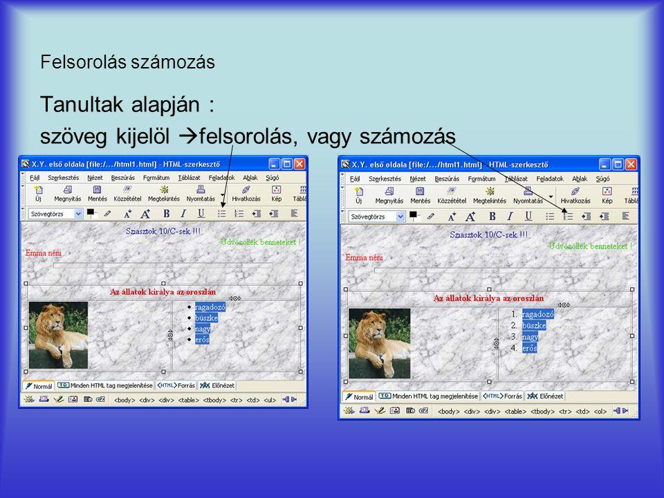 Felsorolás számozás Tanultak alapján : szöveg kijelöl  felsorolás, vagy számozás