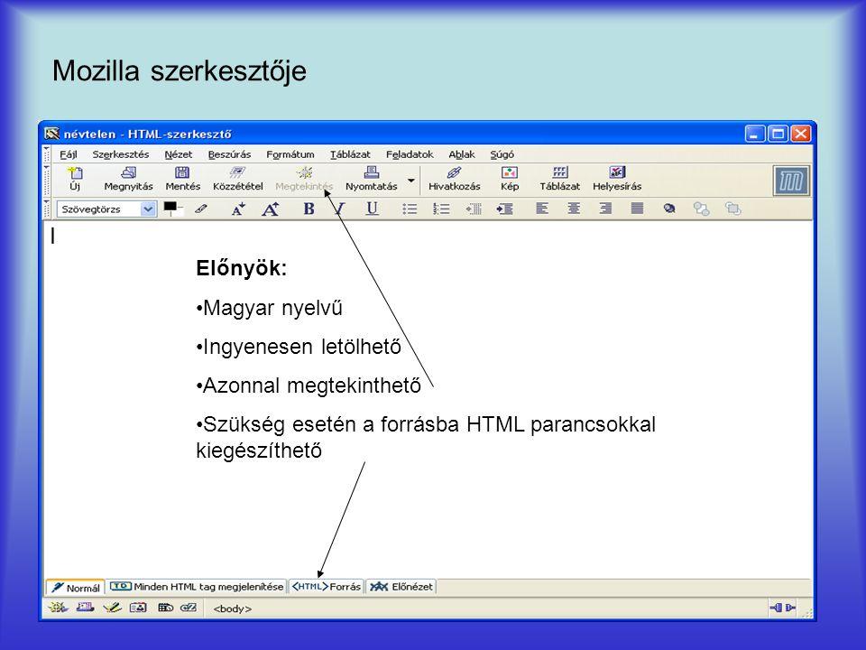 Mozilla szerkesztője Előnyök: Magyar nyelvű Ingyenesen letölhető Azonnal megtekinthető Szükség esetén a forrásba HTML parancsokkal kiegészíthető