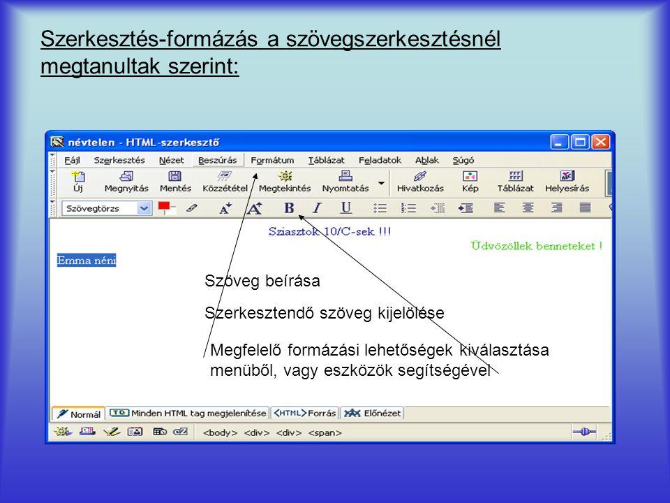 Szerkesztés-formázás a szövegszerkesztésnél megtanultak szerint: Szöveg beírása Szerkesztendő szöveg kijelölése Megfelelő formázási lehetőségek kivála