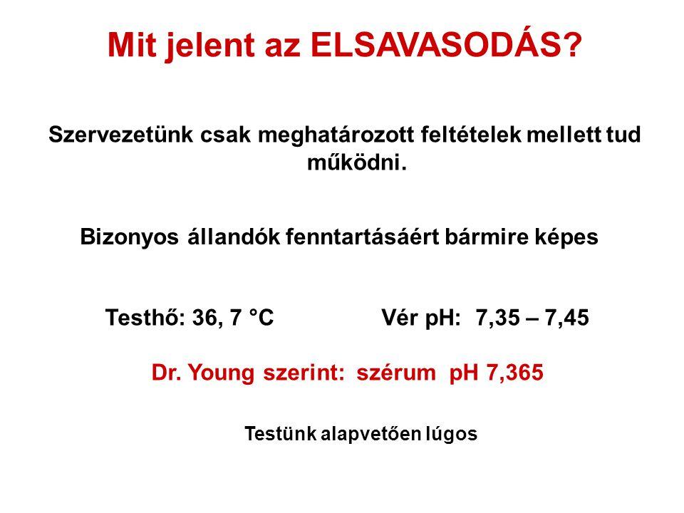 Szervezetünk csak meghatározott feltételek mellett tud működni. Mit jelent az ELSAVASODÁS? Testhő: 36, 7 °C Vér pH: 7,35 – 7,45 Dr. Young szerint: szé