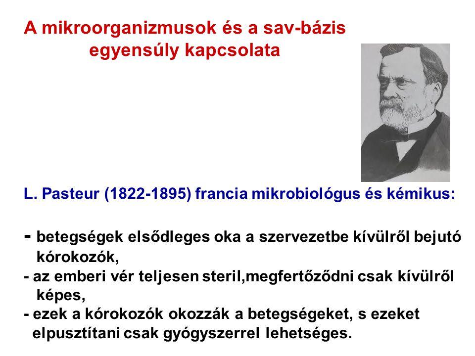 L. Pasteur (1822-1895) francia mikrobiológus és kémikus: - betegségek elsődleges oka a szervezetbe kívülről bejutó kórokozók, - az emberi vér teljesen