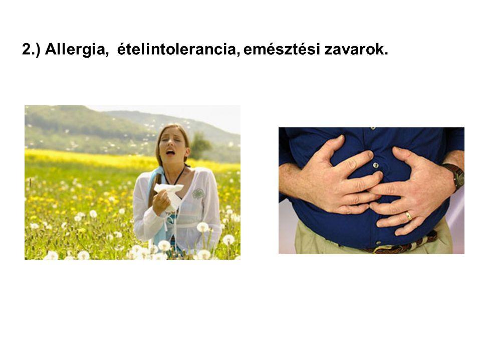 2.) Allergia, ételintolerancia, emésztési zavarok.