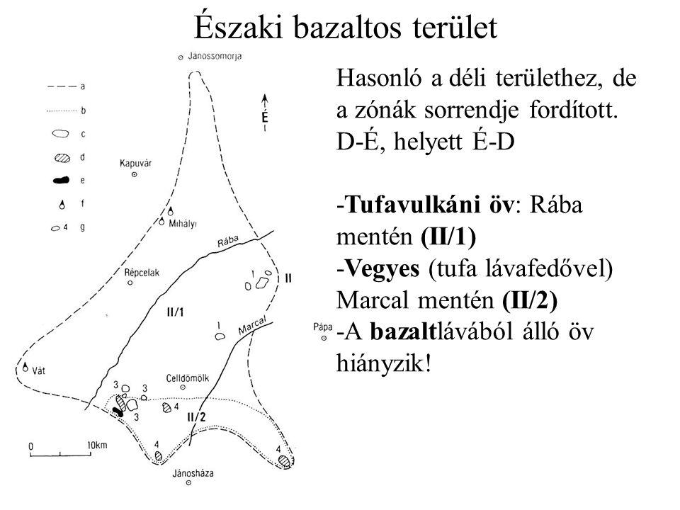 Északi bazaltos terület Hasonló a déli területhez, de a zónák sorrendje fordított.