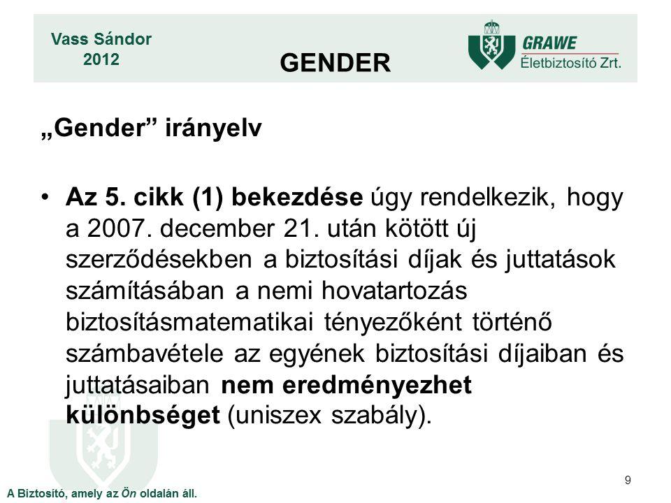 """""""Gender"""" irányelv Az 5. cikk (1) bekezdése úgy rendelkezik, hogy a 2007. december 21. után kötött új szerződésekben a biztosítási díjak és juttatások"""