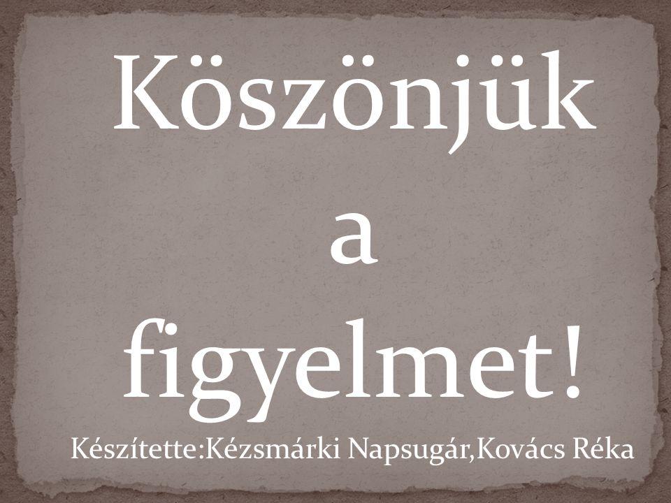 Köszönjük a figyelmet! Készítette:Kézsmárki Napsugár,Kovács Réka