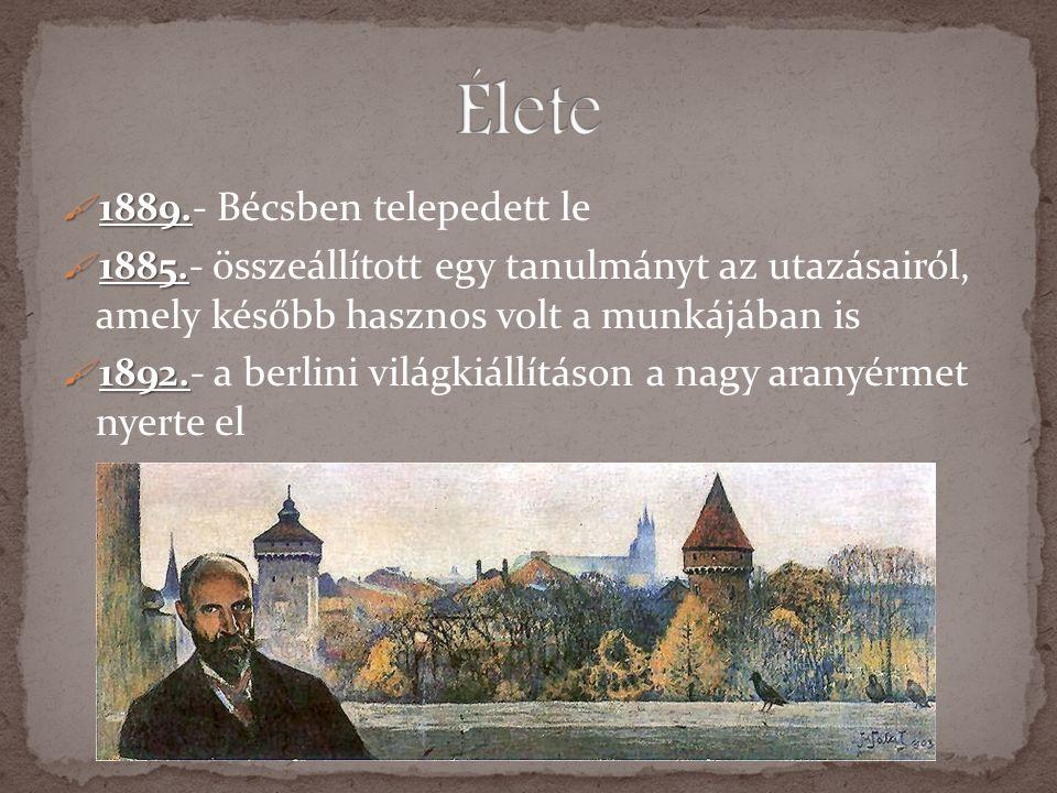 1111889.- Bécsben telepedett le 1111885.- összeállított egy tanulmányt az utazásairól, amely később hasznos volt a munkájában is 1111892.-