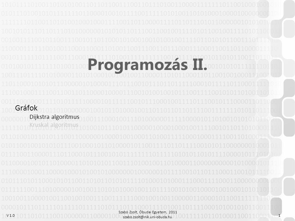 V 1.0 Szabó Zsolt, Óbudai Egyetem, 2011 szabo.zsolt@nik.uni-obuda.hu 1 Programozás II.
