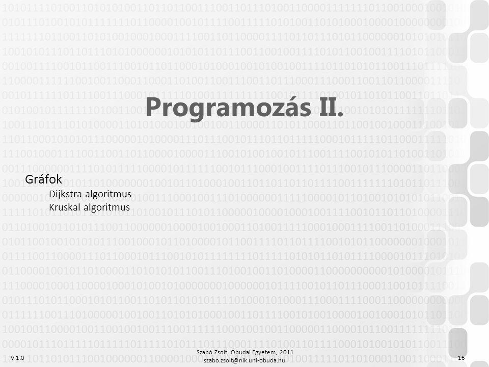 V 1.0 Szabó Zsolt, Óbudai Egyetem, 2011 szabo.zsolt@nik.uni-obuda.hu 16 Programozás II.