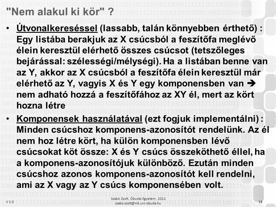 V 1.0 Szabó Zsolt, Óbudai Egyetem, 2011 szabo.zsolt@nik.uni-obuda.hu 18 Nem alakul ki kör .