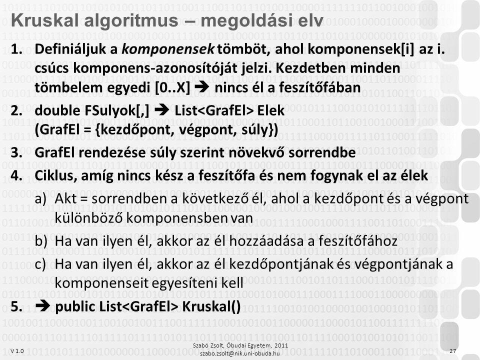 V 1.0 Szabó Zsolt, Óbudai Egyetem, 2011 szabo.zsolt@nik.uni-obuda.hu 27 Kruskal algoritmus – megoldási elv 1.Definiáljuk a komponensek tömböt, ahol komponensek[i] az i.