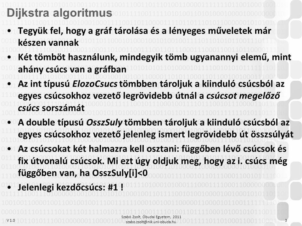 V 1.0 Szabó Zsolt, Óbudai Egyetem, 2011 szabo.zsolt@nik.uni-obuda.hu 3 Dijkstra algoritmus Tegyük fel, hogy a gráf tárolása és a lényeges műveletek már készen vannak Két tömböt használunk, mindegyik tömb ugyanannyi elemű, mint ahány csúcs van a gráfban Az int típusú ElozoCsucs tömbben tároljuk a kiinduló csúcsból az egyes csúcsokhoz vezető legrövidebb útnál a csúcsot megelőző csúcs sorszámát A double típusú OsszSuly tömbben tároljuk a kiinduló csúcsból az egyes csúcsokhoz vezető jelenleg ismert legrövidebb út összsúlyát Az csúcsokat két halmazra kell osztani: függőben lévő csúcsok és fix útvonalú csúcsok.