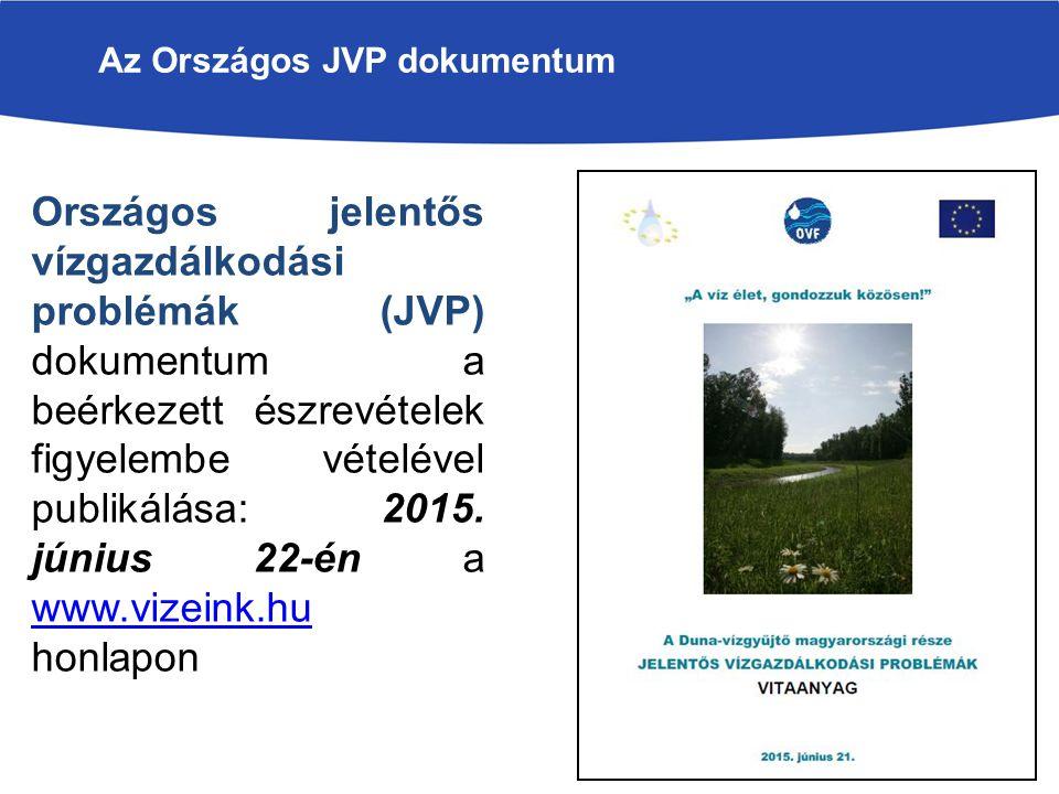 Az Országos JVP dokumentum Országos jelentős vízgazdálkodási problémák (JVP) dokumentum a beérkezett észrevételek figyelembe vételével publikálása: 2015.