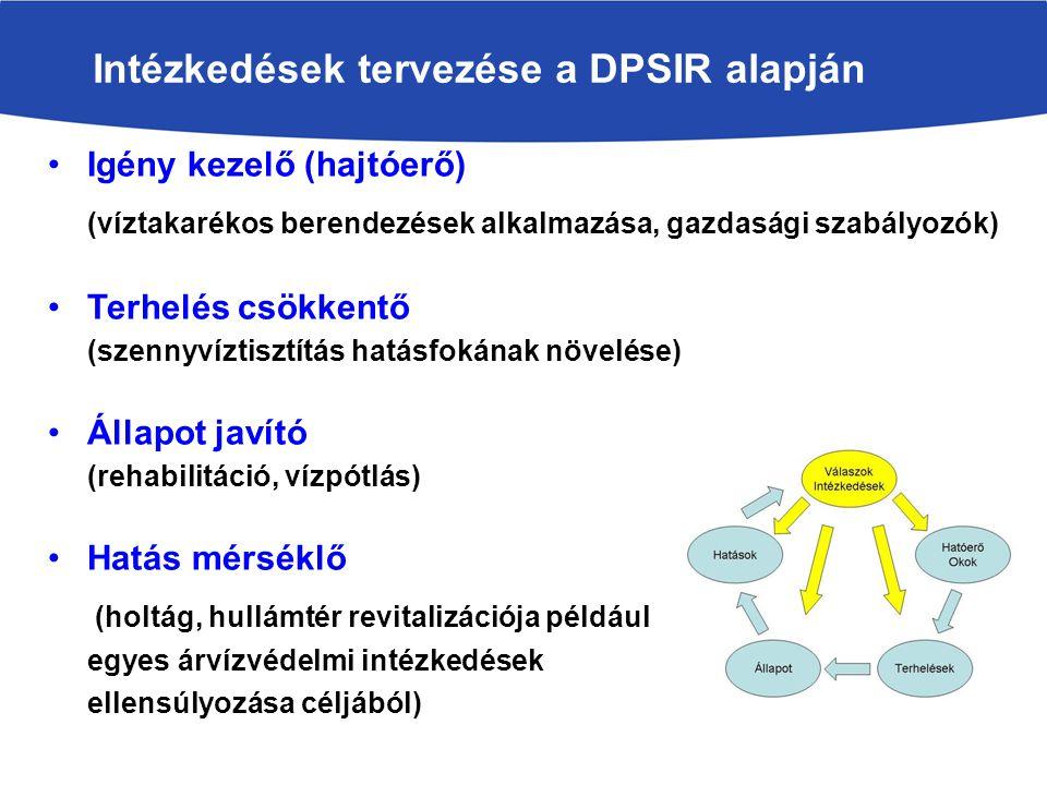 Igény kezelő (hajtóerő) (víztakarékos berendezések alkalmazása, gazdasági szabályozók) Terhelés csökkentő (szennyvíztisztítás hatásfokának növelése) Állapot javító (rehabilitáció, vízpótlás) Hatás mérséklő (holtág, hullámtér revitalizációja például egyes árvízvédelmi intézkedések ellensúlyozása céljából).