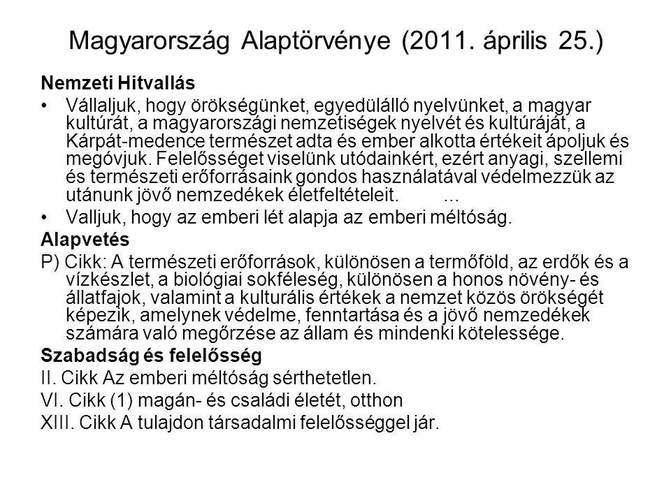 Magyarország Alaptörvénye (2011. április 25.) Nemzeti Hitvallás Vállaljuk, hogy örökségünket, egyedülálló nyelvünket, a magyar kultúrát, a magyarorszá