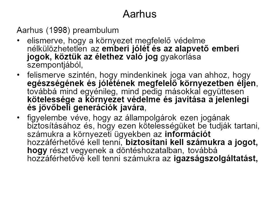 Aarhus Aarhus (1998) preambulum elismerve, hogy a környezet megfelelő védelme nélkülözhetetlen az emberi jólét és az alapvető emberi jogok, köztük az élethez való jog gyakorlása szempontjából, felismerve szintén, hogy mindenkinek joga van ahhoz, hogy egészségének és jólétének megfelelő környezetben éljen, továbbá mind egyénileg, mind pedig másokkal együttesen kötelessége a környezet védelme és javítása a jelenlegi és jövőbeli generációk javára, figyelembe véve, hogy az állampolgárok ezen jogának biztosításához és, hogy ezen kötelességüket be tudják tartani, számukra a környezeti ügyekben az információt hozzáférhetővé kell tenni, biztosítani kell számukra a jogot, hogy részt vegyenek a döntéshozatalban, továbbá hozzáférhetővé kell tenni számukra az igazságszolgáltatást,