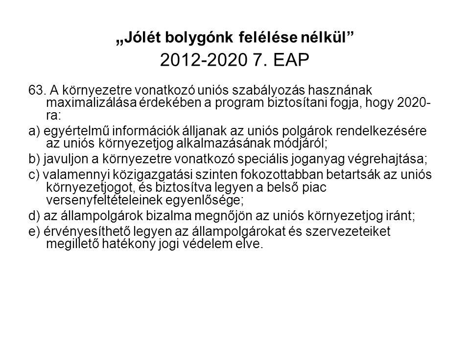 """"""" Jólét bolygónk felélése nélkül"""" 2012-2020 7. EAP 63. A környezetre vonatkozó uniós szabályozás hasznának maximalizálása érdekében a program biztosít"""